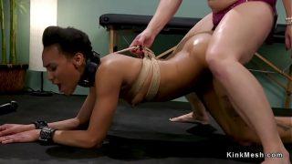 Ebony lesbian patient anal fucked