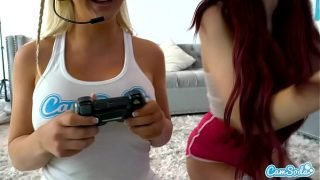 Lesbian Teen Forces her Step-sister to eat her pussy after playing video games