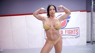 London River fighting Brandi Mae in lesbian wrestling with face sitting and a hard strapon fuck