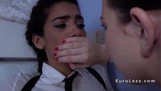 Schoolgirl in uniform banged by lesbian maid